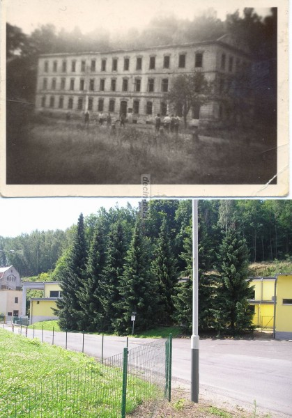 továrna v den odstřelu v 60tých letech