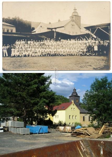 školní třída na hřišti -dnešní Děčínské stavby
