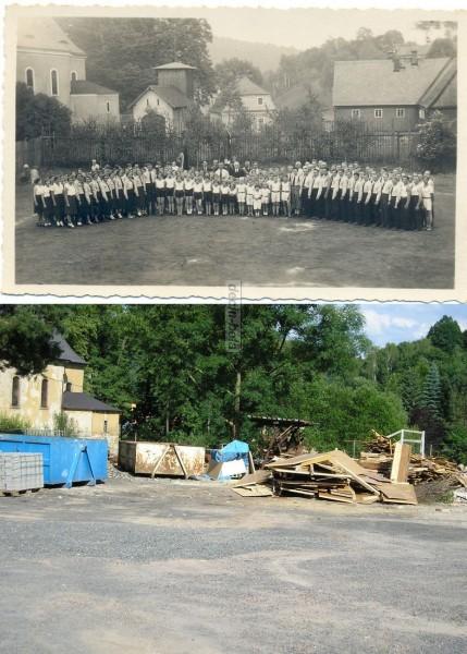 jiná školní třída na hřišti -dnešní Děčínské stavby