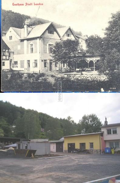 Bělá výřez pohlednice budoucí Tylův dům zbořen 1960